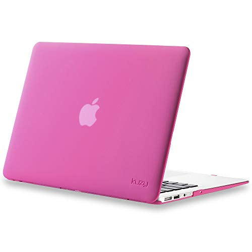 Kuzy Compatible with MacBook Air 13 inch Case 2017 2016 2015 Older Version A1466 A1369 Soft Touch Hard Shell Cover for Apple MacBook Air 13.3 inch, Neon Pink