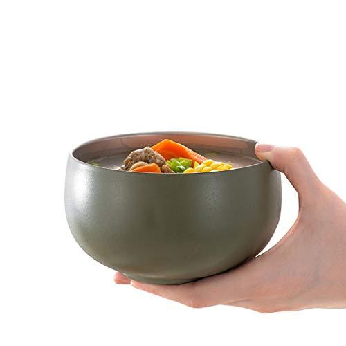 WZNING Cuencos de acero inoxidable para sopa de Ramen, cuencos de comida para restaurantes de 4.7 pulgadas, tazón de arroz, cereales, frutas, sopa de frutas, postre (color: gris)