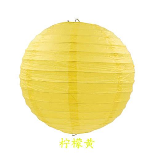 4-6-8-10-12-14-16inch Ronde Chinese Papier Lantaarn Kerstmis Kerstmis Kerstmis Halloween Bruiloft Decoratieve Opknoping Wit Papier Lampenlamp, Citroen Geel, 16 inch (40cm)