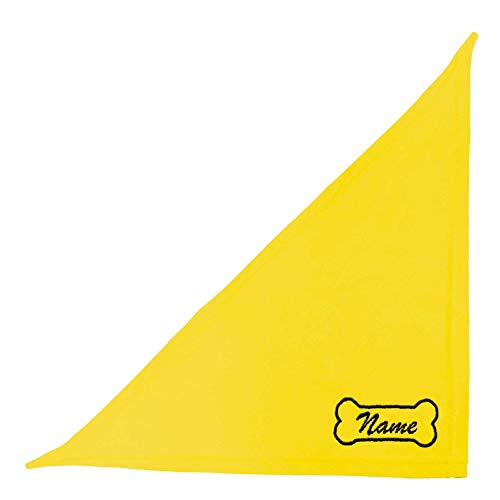 Schecker Gelb 50 cm Besticktes Hundehalstuch/Dreieckstuch/Kopftuch - Motiv Knochen und Hundenamen - Gelb 50 cm