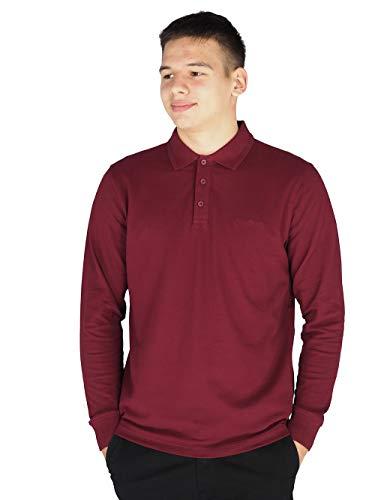 Pierre Cardin Mens Neue Saison Langarm Klassisches Premium Polo T-Shirt Pullover (4XL, Burgundy)
