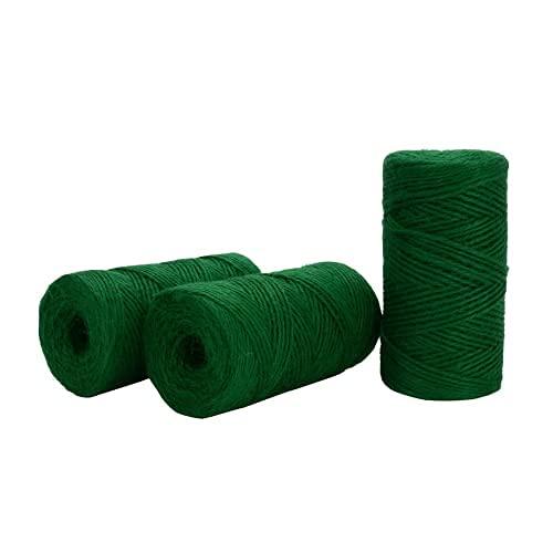 Cuerda de jardín de yute verde de 100 m, cuerda de jardín para envolver floristería, manualidades, 3 unidades