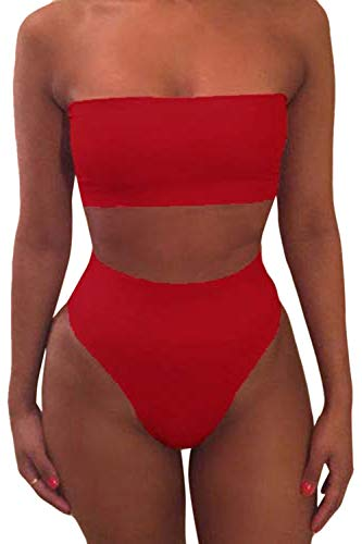 Pink Queen Women's Removable Strap Wrap High Waist Bikini Set Swimsuit Rose S