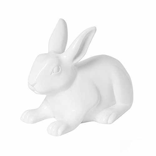 Pottery Pots handgefertigter Deko-Hase Roger Rabbit (M), weiß-glänzend, 340 x 205 x 255 mm, hochwertige Deko für Haus & Garten, Fiberglas + Steinpulver, Fiberstone glasiert, Glossy White wetterfest