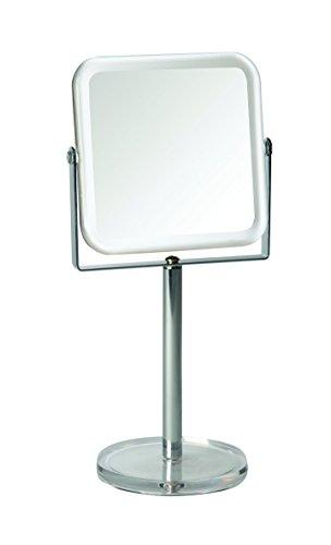 Gerson spiegel op voet, transparant, verchroomd, 7-voudige vergroting, vierkant, 12 x 12 cm, hoogte: 29 cm