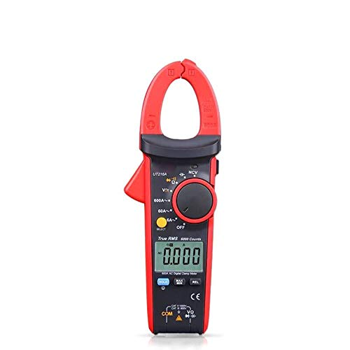 LIRRUI Medidor Digital de Pinzas UT216B UT216C UT216A Verdadero Valor eficaz RMS AC DC Voltaje DCA Resistencia Capacitancia Frecuencia NCV VFC Auto Rango (Color : Rojo, Size : UT216A)