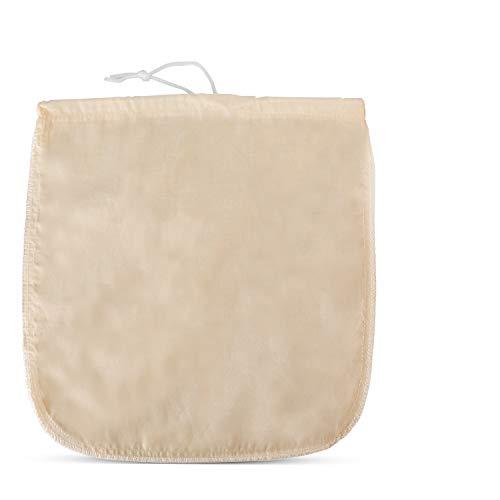 "BFVV Organic Cotton Nut Milk Bag COMMERCIAL GRADE REUSABLE 12""x12"" Food Strainer for Yogurt, Cheese Cloth, Juice, Tea, Cold Brew Coffee & More"