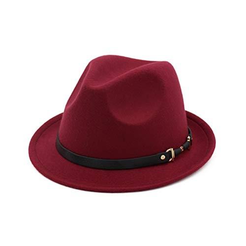 Hombres Sombreros de Fieltro de Fedora Fashion Mujeres Elegante Sombrero de Caballero Señora Otoño Invierno Iglesia Sombrero de ala Ancha Sombreros de Jazz