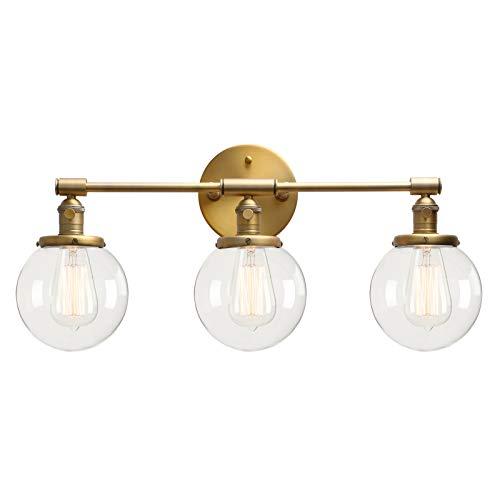 HUAHUA Luz de pared Pérmico 3 pared de la luz del aplique de tocador de baño Negro Luz aplique de la luz Fixture con 5,9 pulgadas de cristal redonda con dosel, Negro ( Lampshade Color : Antique )