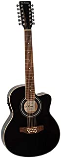De Rosa 12 String Cutaway Acoustic-Electric Thin Body Guitar Black