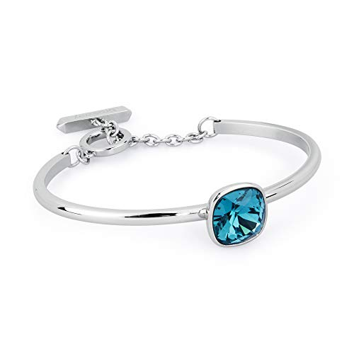 Brosway Womens BTRING Cuff Bracelet | Stainless Steel Bangle w/Blue Swarovski Crystal