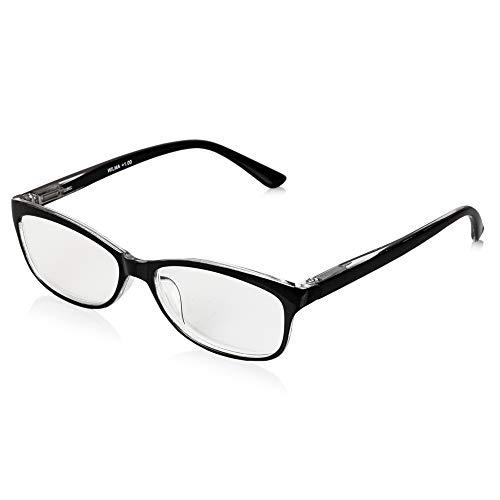 Demel Augenoptik Klassische Lesebrille/Lesehilfe inkl. Brillenetui – Kunststofflesehilfe in den Stärken 1,0 bis 3,0 Modell: Wilma (Schwarz, 2.0)