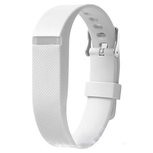 allbingo Fitbit Flex Adjustable Wristband - Fitbit Flex Silicone Replacement Secure Band with Chrome Watch Clasp and Fastener Buckle - Fix The Tracker Fall Off Problem (White x 1)