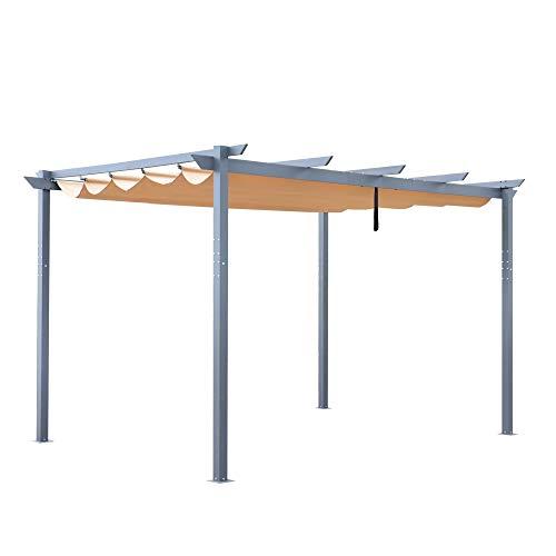 ALEKO PERGSAND10X13 Aluminum Outdoor Retractable Canopy Pergola - 13 x 10 Ft - Sand Color