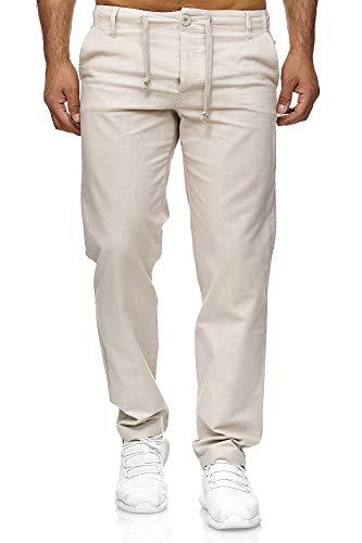 Reslad Leinenhose Männer Chino Herren-Hose lockere Sommer Stoffhose Freizeithose aus bequemer Baumwolle lang RS-3000 (M, Beige)