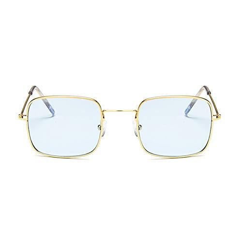 NXMRN Gafas De Sol Gafas De Sol Cuadradas Transparentes Retro Mujer Hombre Gafas De Sol Para Mujer Gafas De Sol Pequeñas De Hip Hop-Oro azul claro