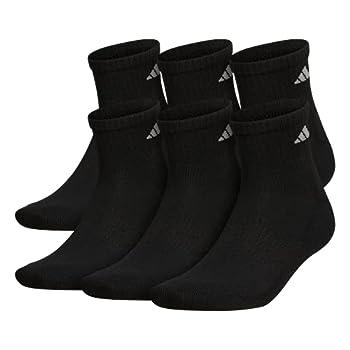 adidas Men s Athletic Cushioned Quarter Sock  6-Pair  Black/Aluminum 2 Large  Shoe Size 6-12