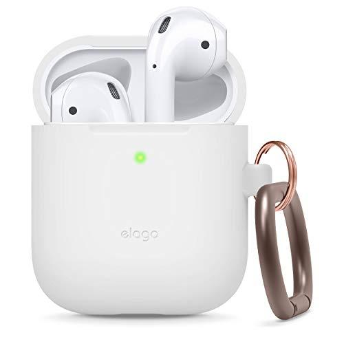 Elago AirPods - Custodia in silicone con portachiavi, progettata per Apple Airpods 2 & 1 [anteriore LED visibile], colore: Bianco