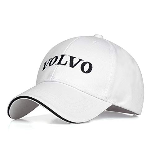 JDclubs Volvo Logo Embroidered Adjustable Baseball Caps for Men and Women Hat Travel Cap Car Racing Motor Hat (White New)