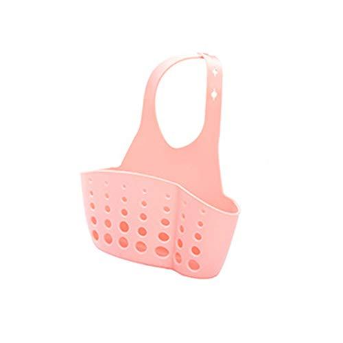 Frjjthchy 2 Pcs Plastic Gadget Sink Organizer Adjustable Sponge Holder Draining Basket Vibrant Colors (Pink)
