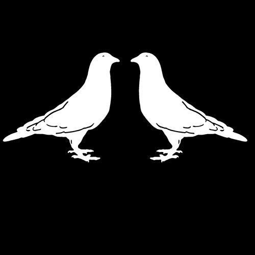 Oneriverspring40 14x13.1cm 2X Taube Vogel Links rechts interessant Vinyl Aufkleber Schwarz Silber Auto Aufkleber (Color Name : Silver)