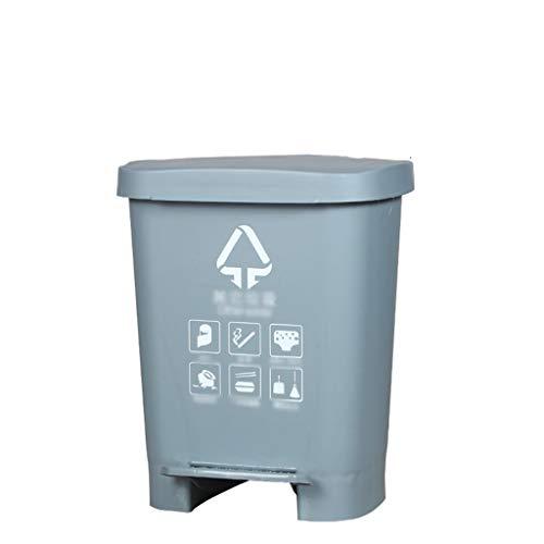 LSHWHT HeWHui 60LGarbage clasificación Caja, Pedal de plástico Cubos de Basura basuras Engrosamiento Bin Diseño Duradero for Patio, Patio Cubos de Reciclaje (Color : Gray, Size : 31 * 25 * 39CM)