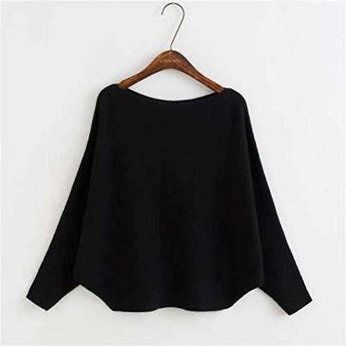 Damespullover en pullover Koreaanse stijl spel alle woorden kraag pullover vrouwelijk eenkleurig losse vleermuis mouwen gebreid hemd vrouwelijk, JUSTTIME Eén maat zwart