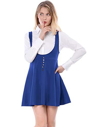 Allegra K Women's Kawaii Fashion Button Decor Overalls Pinafore Dress Suspenders Skirt M Indigo Blue