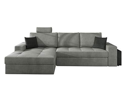 Mirjan24 Ecksofa Artsam mit Einstellbare Kopfstützen und Schlaffunktion, L-Form Sofa mit Bettkasten, Eckcouch, Wohnlandschaft, Couch, Bettfunktion (Alfa 18 + Alfa 21, Seite: Links)