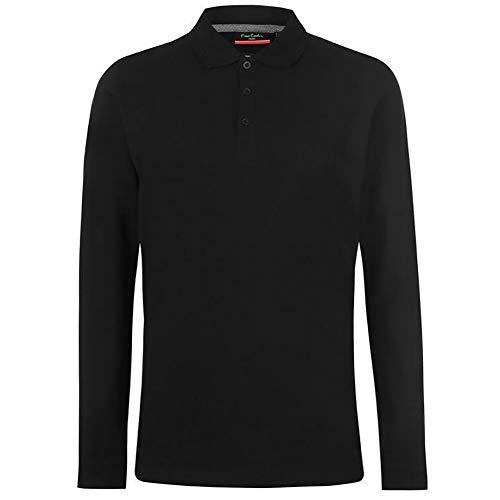 Pierre Cardin Mens Neue Saison langarm Klassisches Premium Polo T-Shirt anbringen. (3X-Groß, Schwarz)