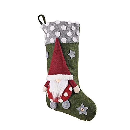 ZJJX Calcetín de Navidad, bolsa de caramelos, con una muñeca sin cara, bonitos calcetines colgantes para chimenea, familia, Navidad, decoración de temporada.