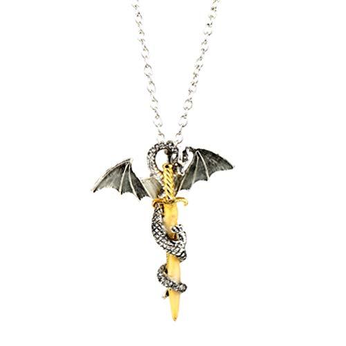SOLUSTRE Colar com espada de dragão Neklace que brilha no escuro com colar de liga punk rock liga personalizada joia com pescoço de asa de espada para homens e adultos