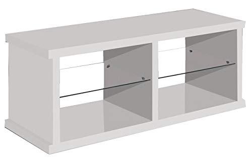Miroytengo Mesa TV Color Blanco con 2 estantes de Cristal fijos 4 Huecos Estilo Moderno 130 cm