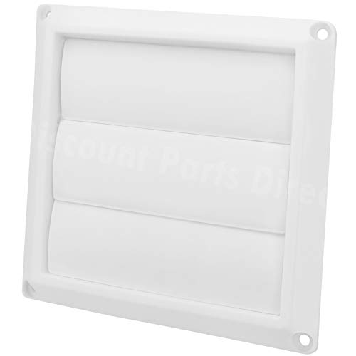 Outdoor Dryer Air Vent Cover Cap 4'' Louvered Cover White Exterior Wall Vent Hood Outlet Airflow Vent
