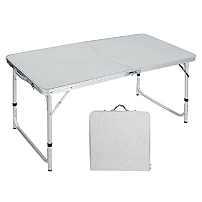 CAMPMOON Folding Camping Table 4 Foot, Lightweight Portable Aluminum Folding Table with Adjustable Legs, Great for Outdoor Cooking Picnic, White