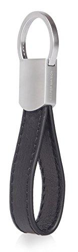 Kasper Maison Premium Leather Keychain with 4 Premium Keyrings and Luxury Gift Box - Black