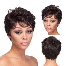 Short Pixie Cut Hair Wig Naturally Black Curly Hair Wig Wavy Wig Short Black Brown Hairstyles Synthetic Wigs For Women Popular Fashion Wigs Heat Resistant Hairpieces Women's Wig (FCHW-K07-G)