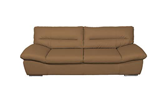 Mivano 3er-Ledersofa William / 3-Sitzer Sofa in Echtleder und modernem Design / 231 x 87 x 100 / Leder braun