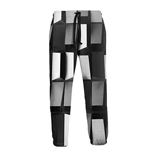 Olverz Hombres Pantalones Deportivos Retro Negro y Blanco Cómodo Cool Pantalones de Chándal Sueltos Pantalones de Cordón