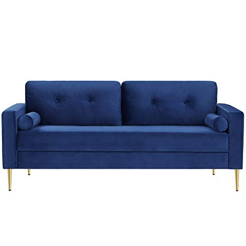 VASAGLE Sofa, Couch for Living Room, Velvet Surface, for Apartment, Small Space, Solid Wood Frame, Metal Legs, Easy Assembly, Mid-Century Modern Design, 71.3 x 32.3 x 33.9 Inches, Blue ULCS002Q01