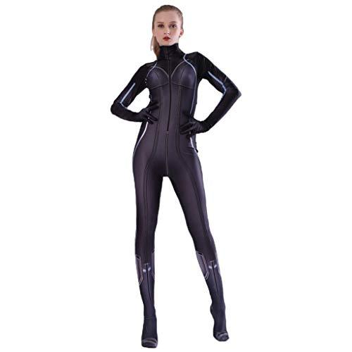 QWEASZER Marvel Avengers Black Widow Kostüm Film Kostüm PS4 Anime Zentai Kostüme Frauen Superheld Cosplay Overall Onesies,Black-190~200cm