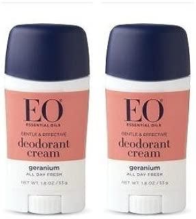 EO Deodorant Cream Geranium (Pack of 2) With Cassava Root, Baking Soda, Cocoa Seed Butter, Vitamin E, Tapioca, Sage, Lavender, Geranium, Citrus, Juniper and Cedar, 1.8 oz. Each