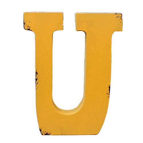 KKJJ Letra Madera Pegatinas Decoración del Hogar, Creativo Vendimia Diseño de Nombre Personalizado, para Boda, Decoración del Hogar, Alfabeto de Letras Inglesas Decoración,U