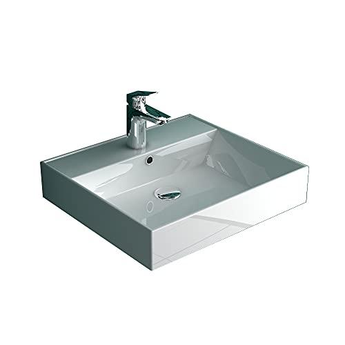 Alpenberger Lavabo de cerámica sanitaria con rebosadero y nanorrevestimiento, moderno lavabo para invitados solución de aseo