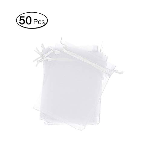 Zhi Jin - 50 Bolsas de Organza para Joyas, Bolsas de Regalo para Bodas, Fiestas, con cordón de Organza, 20 x 30 cm, Color Blanco