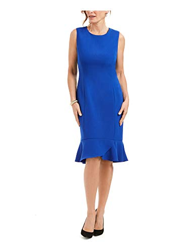 Kasper Womens Petites Drop Waist Scalloped Bottom Wear to Work Dress Blue 6P
