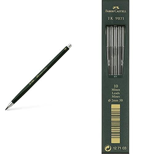 Faber-Castell 139403 Lápiz mecánico (Negro, Verde, De plástico, 3B) + TK9071 Minas para portaminas (2 mm, 3b, 10 unidades)