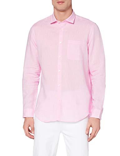 Marchio Amazon - MERAKI Camicia Misto Lino a Manica Lunga Regular Fit Uomo, Rosa (Pink), L, Label: L