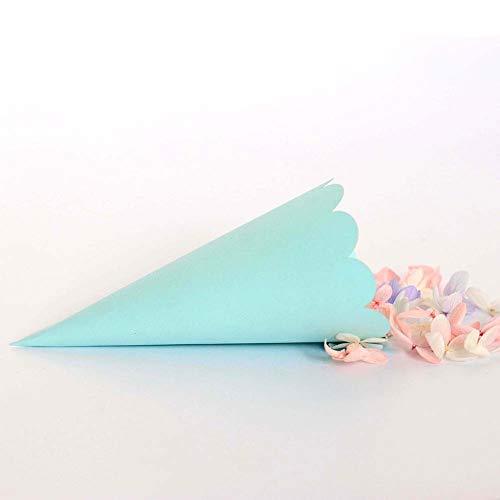 Sumshy - 100 conos de arroz para bodas, color blanco, elegantes, conos de confeti, papel perlado con borde recortado a láser, marcadores de mesa para banquetes