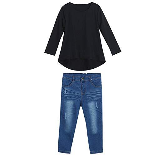 Borlai 2-7 Jaar Baby Meisjes Casual Outfits Kleding Set Zwart T-Shirt + Denim Broek